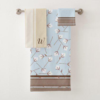 Rustic Country Cotton Flowers Initial Letter Bath Towel Set Zazzle Com Bath Towel Sets Towel Set Bath Towels