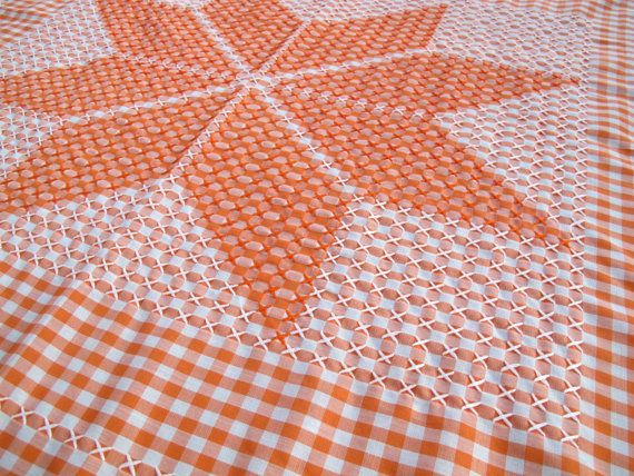SALE Orange And White Gingham Tablecloth With Chicken Scratch Embroidery /  45 X 48 Inch Tablecloth