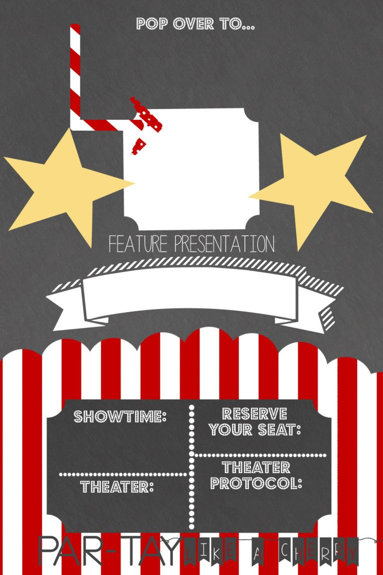 Drive In Movie Party Invitation Party Like A Cherry Movie Party Invitations Movie Night Invitations Movie Ticket Birthday Invitations