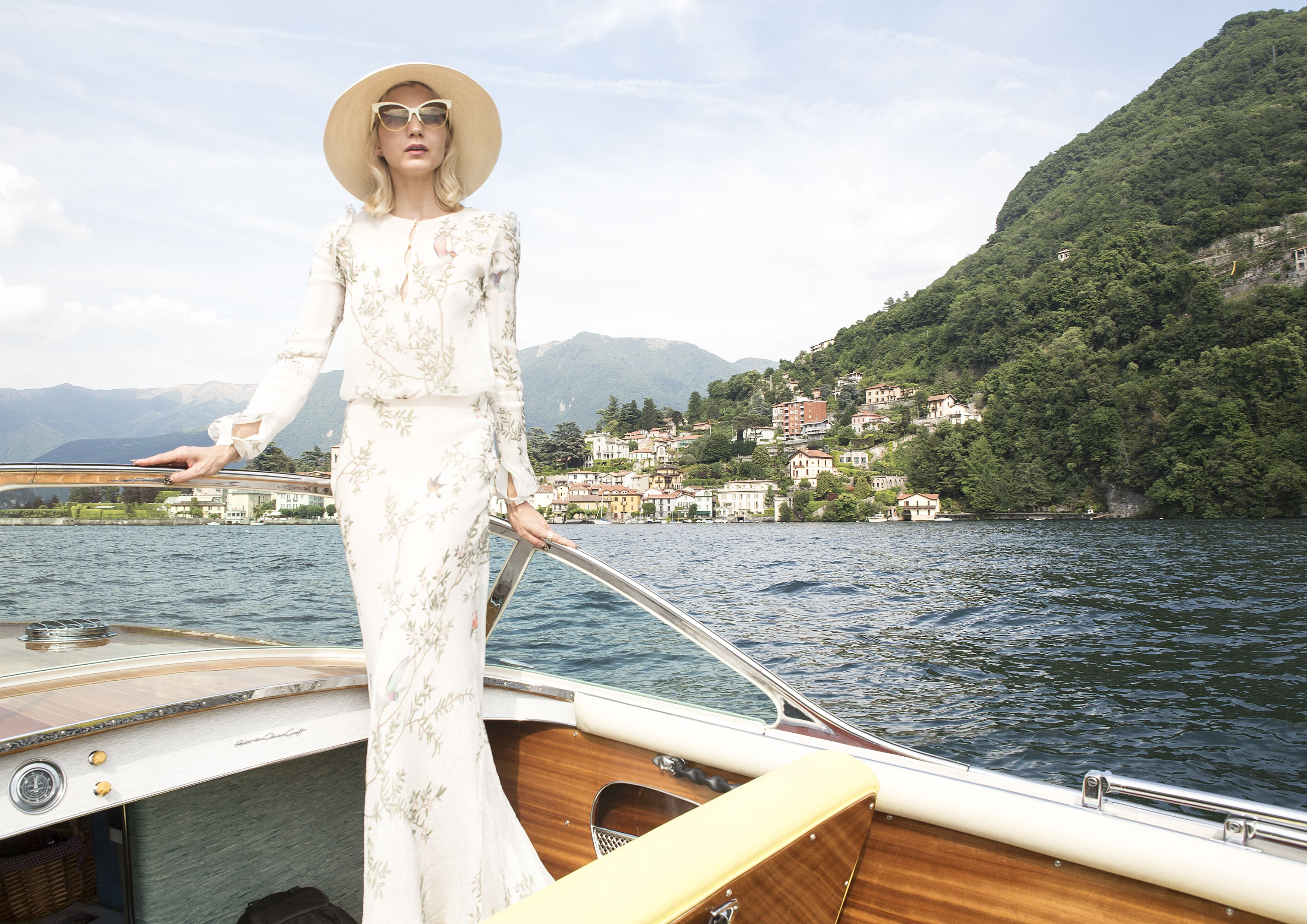 Samantha Angelo, The Eye Travels, The Eye Has To Travel, Lake Como, Lake Como Italy, Italy, Italian Holiday, Riva, Boat, Boating, Monique Lhuillier, Monique Lhuillier Dress, Dita Eyewear, Dita Temptation, Stylist, Creative Consultant, Fashion, Travel, Style, Boating on Lake Como, Riva Boat,