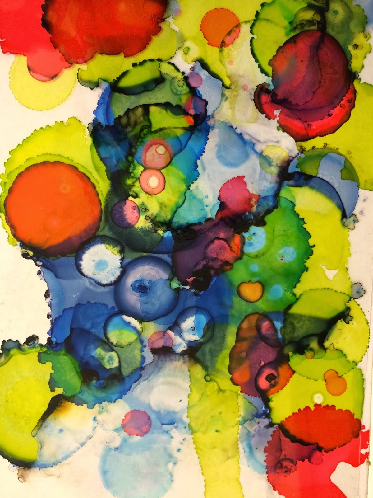 Abstract Art- ink on transparencies layered over the top of each ...