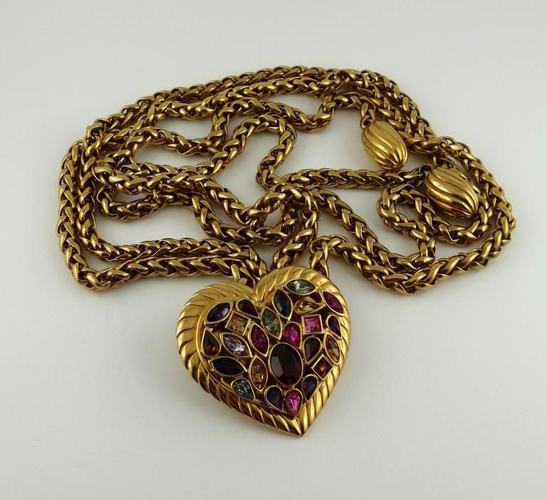00a82597458 Yves Saint Laurent YSL Vintage Rare Jewelled Heart Chain Belt and Necklace  1970-99