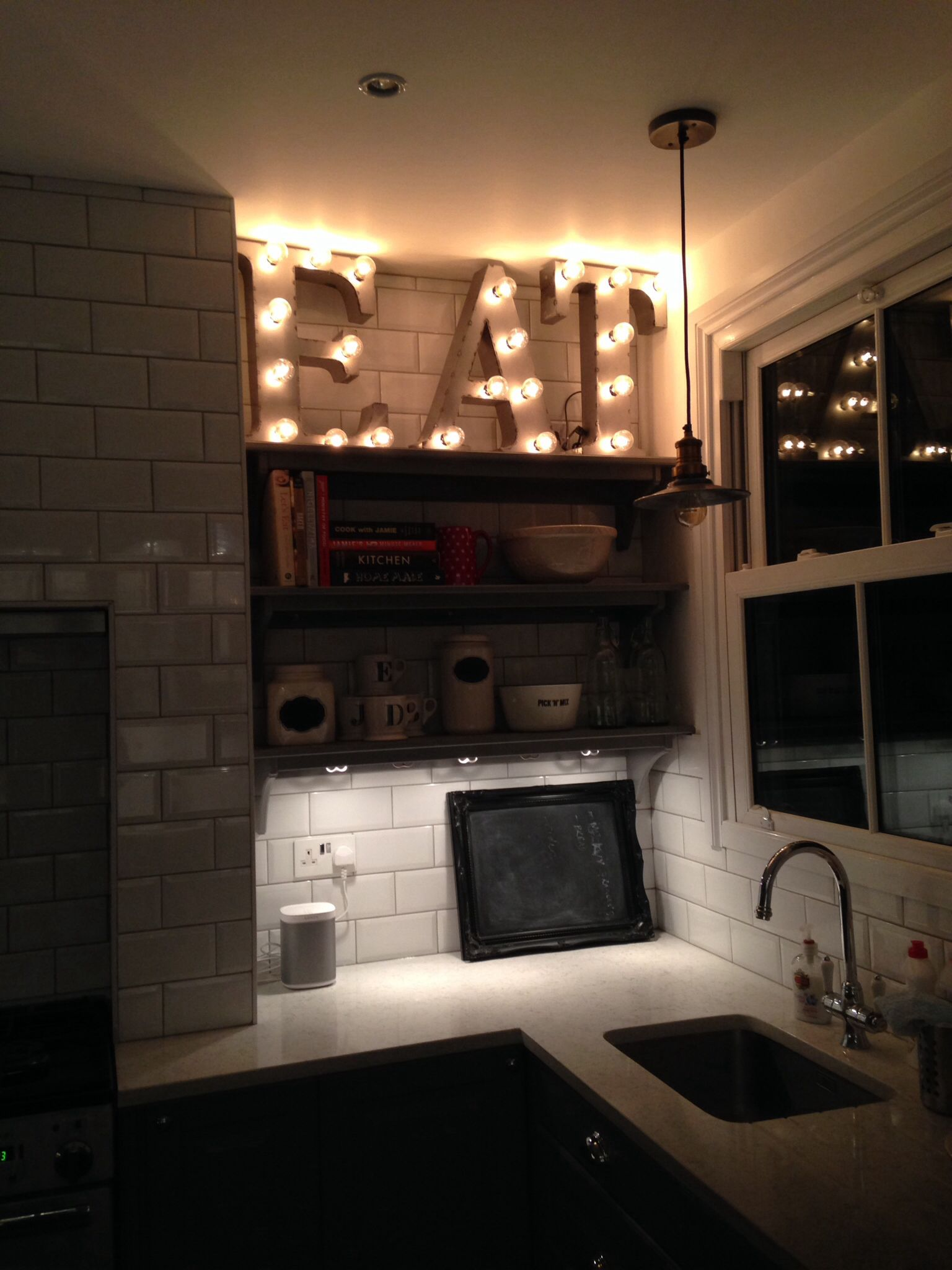 Light Bulb EAT Sign Kitchen