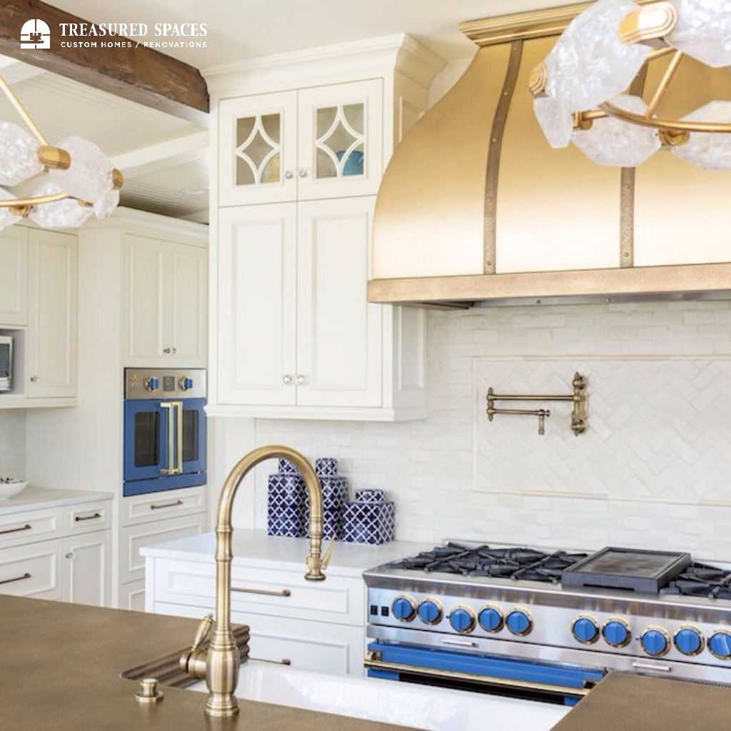 Kitchen Remodel White, Gold, and Pops of Blue | Kitchen Remodel and ...