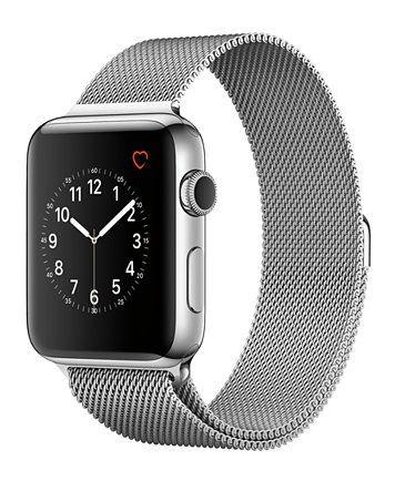 Apple Watch Series 2 42mm Stainless Steel Case With Silver Tone Milanese Loop Macys Com