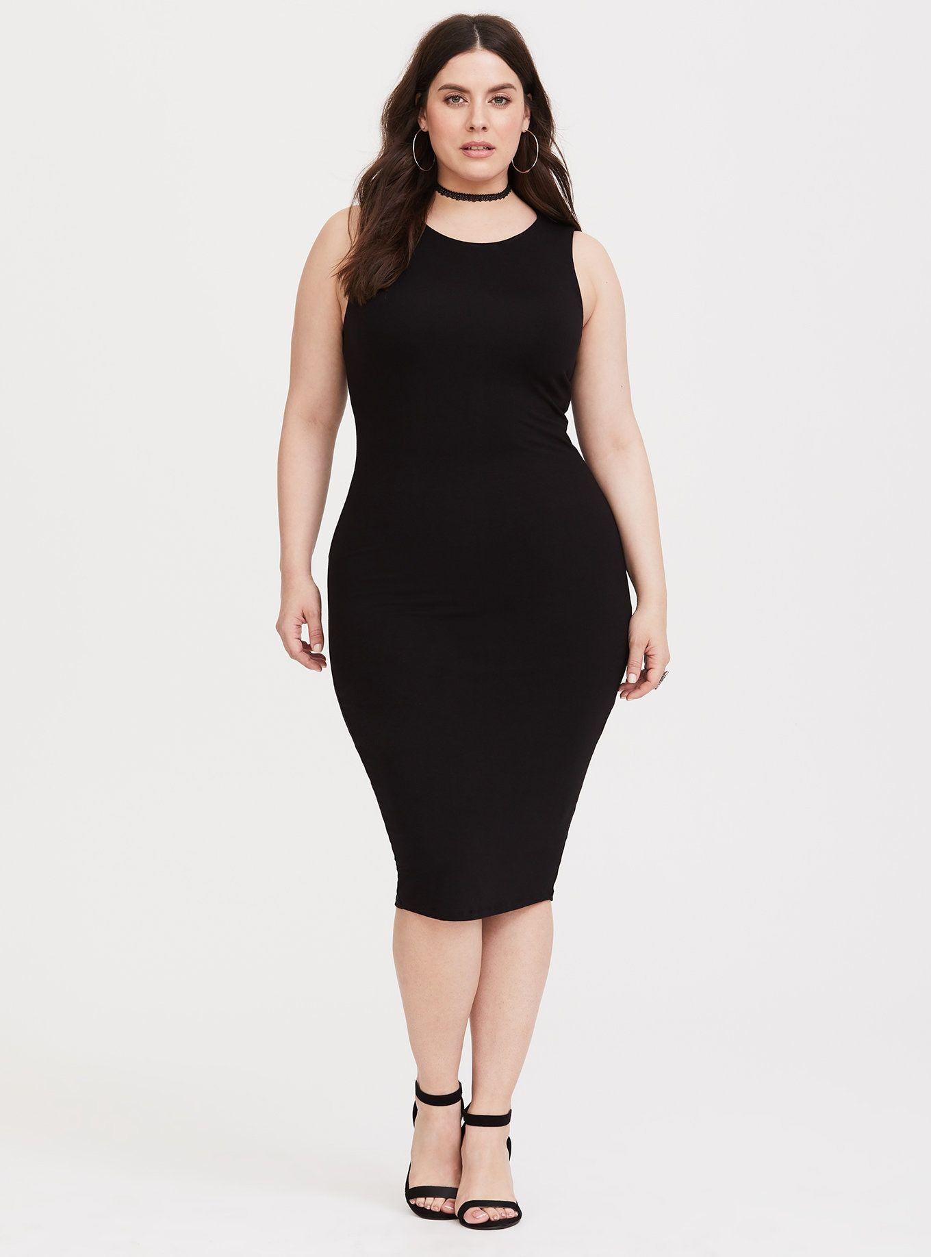 ad22f665c0fd Black Jersey Midi Bodycon Dress