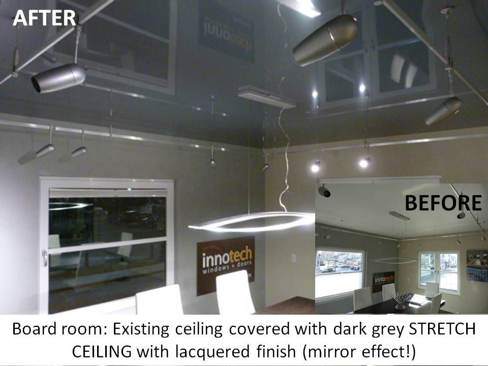 Board Room Existing Ceiling Covered With Dark Grey Phoenix Stretch Lacquered Finish