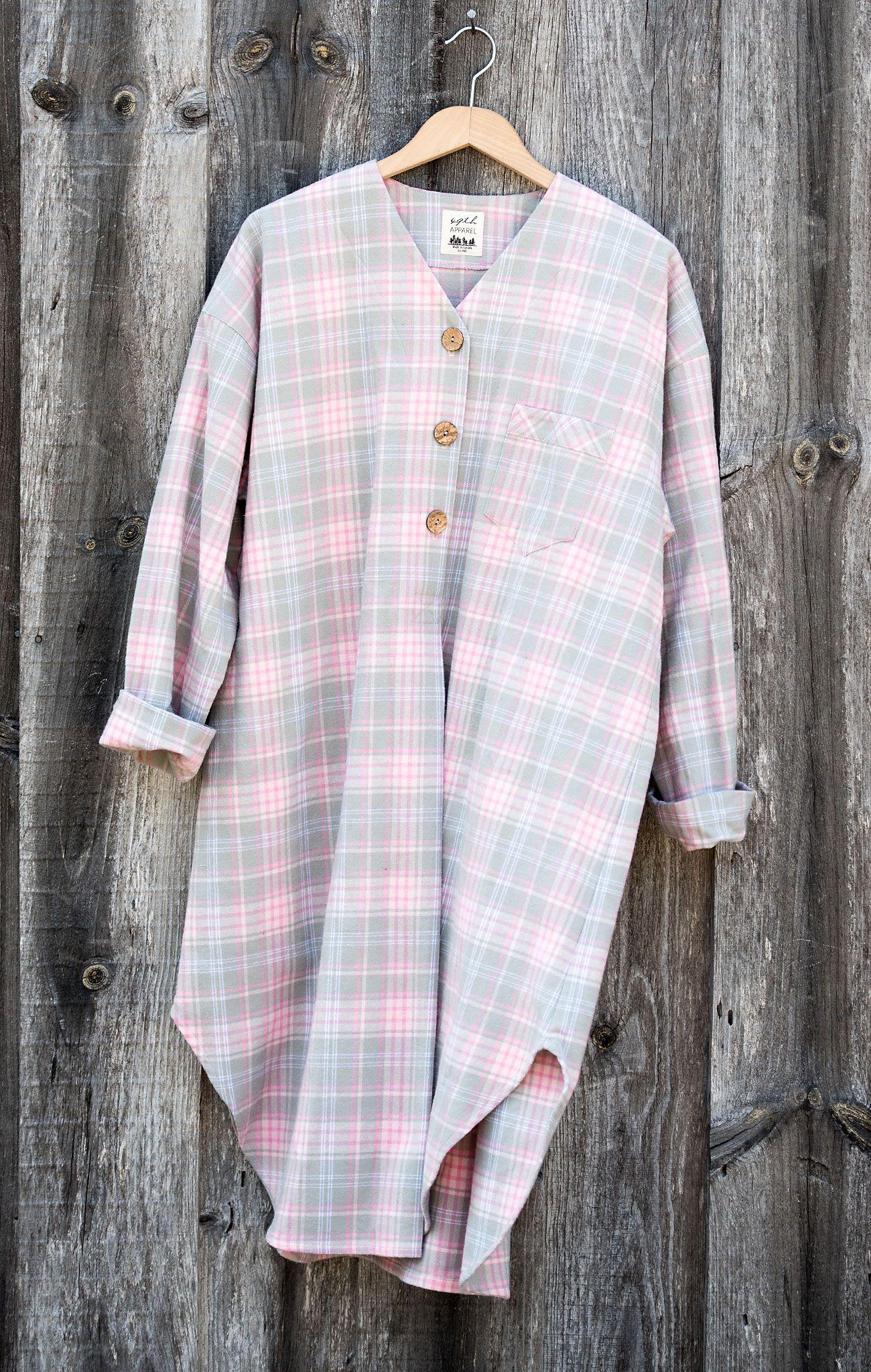 Classic Nightshirt Arctic Plaid Flannel Night shirt