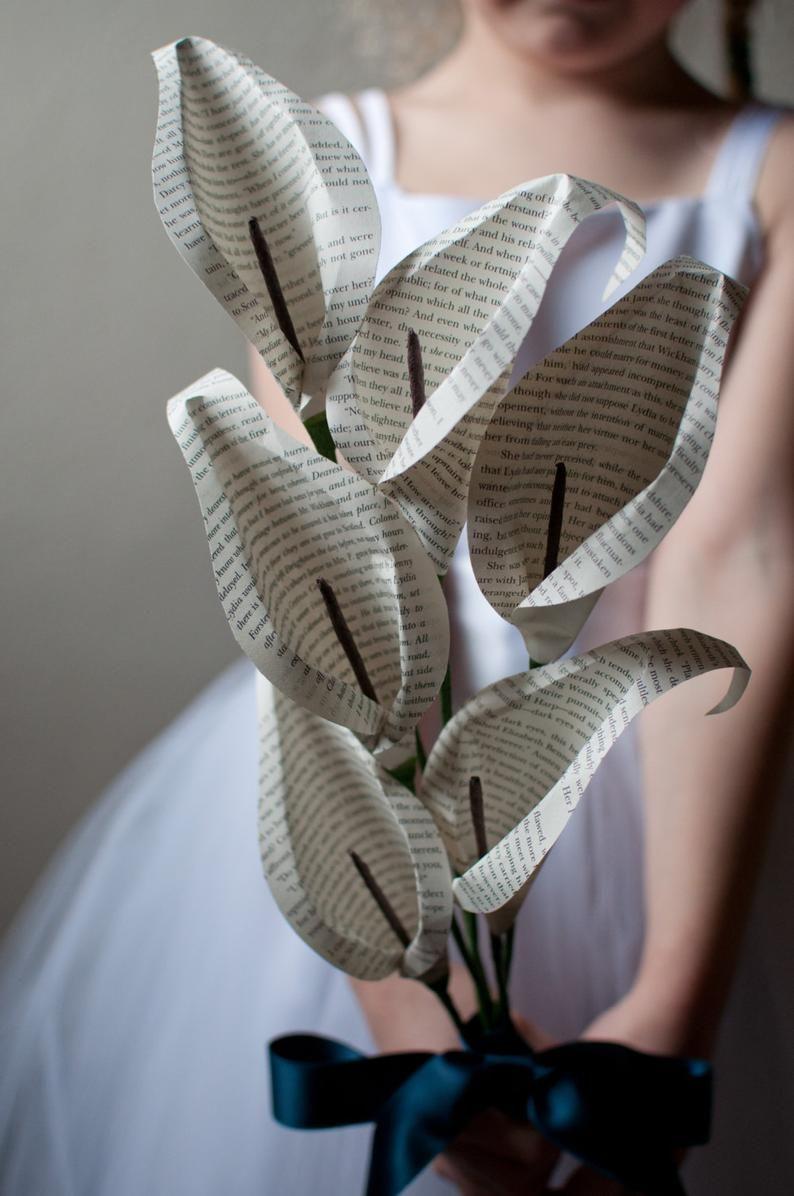 Halbes Dutzend (6) Buch Seite Papier Calla Lily Blumen #paperflowerswedding