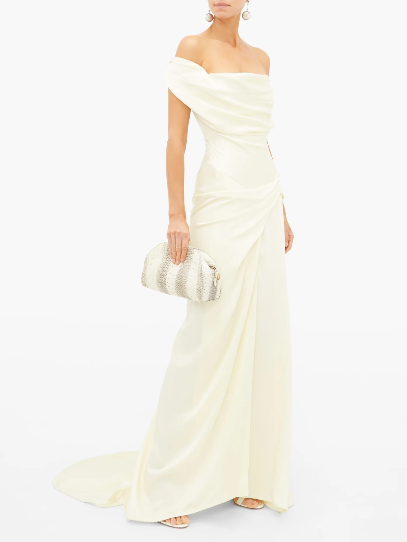 Dione Draped Off The Shoulder Satin Crepe Dress Vivienne Westwood Matchesfashion Us Dresses Dress Display Formal Evening Dresses [ 1332 x 1000 Pixel ]