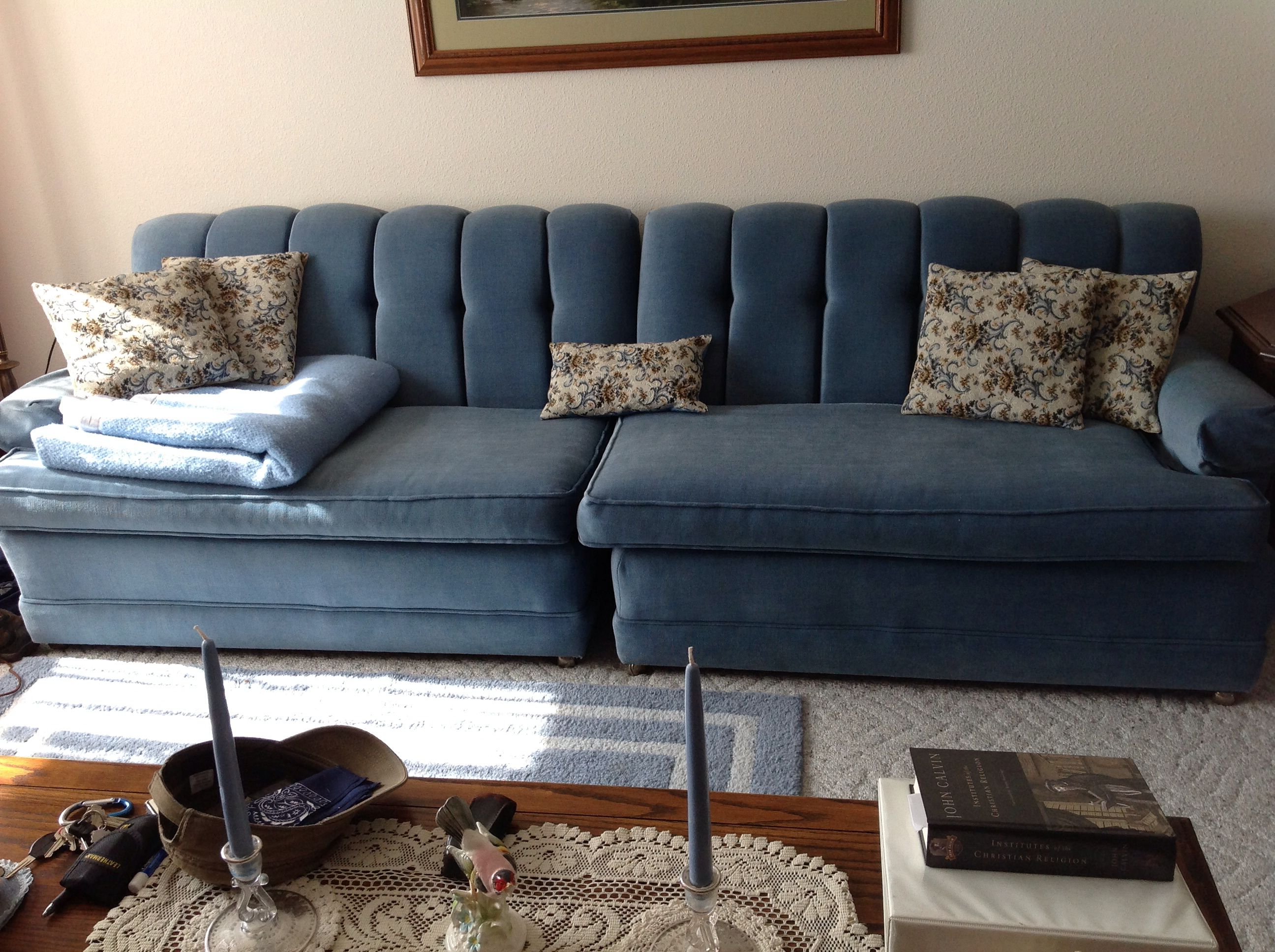 LR-36 split long sofa with throw pillows