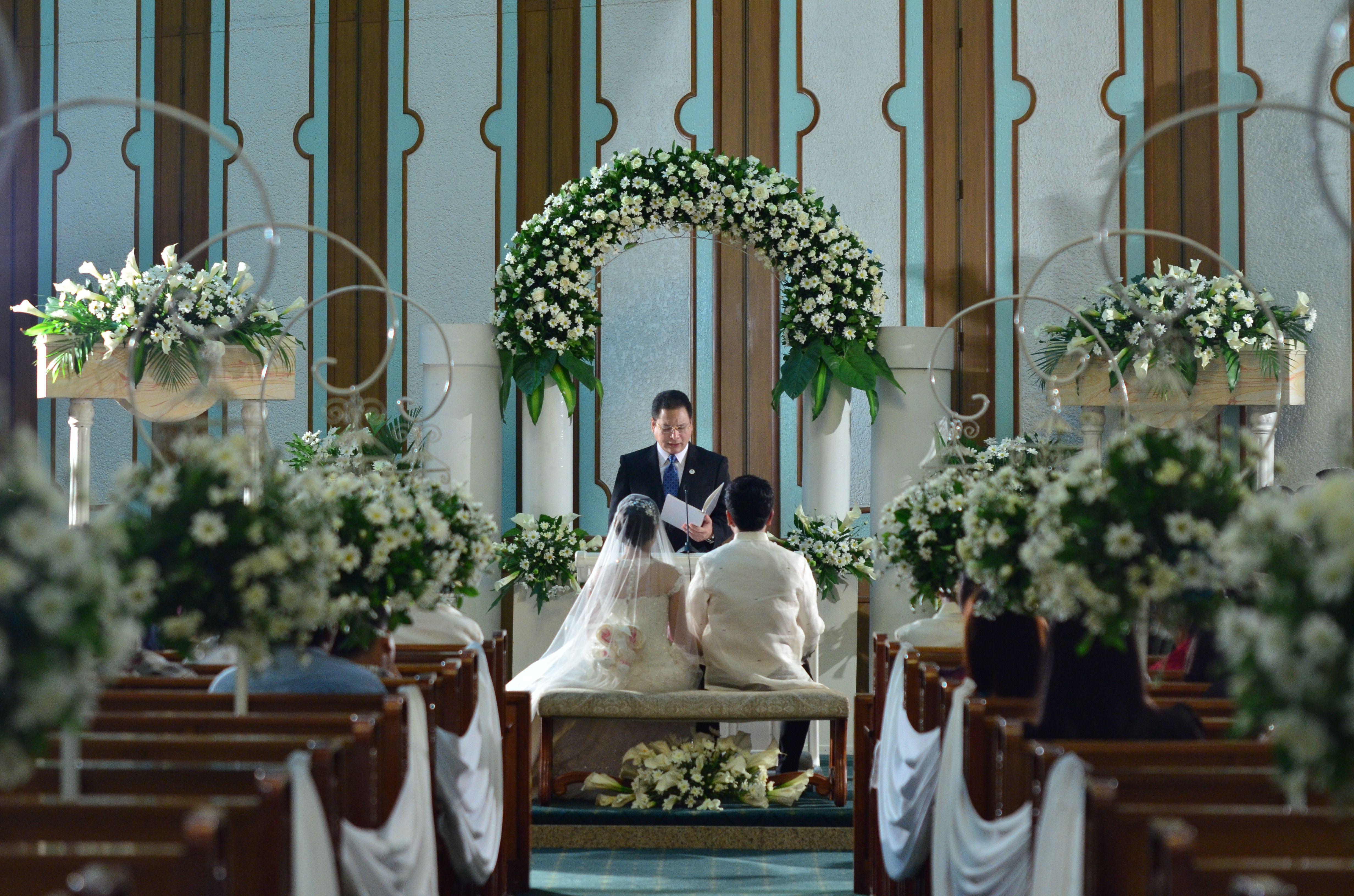 Church flower arrangement... Philippines Wedding