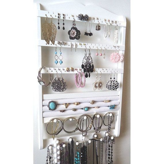 Jewelry Holder Wall Mount Wood Earring Holder Necklace Organizer