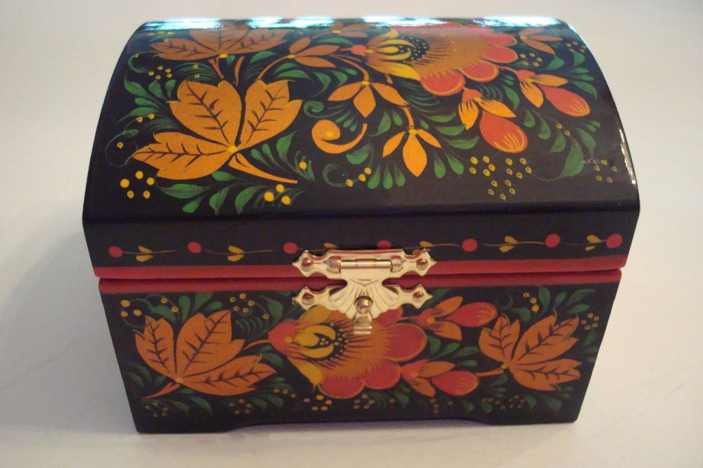 Russian Black Lacquer Hand Painted BOx