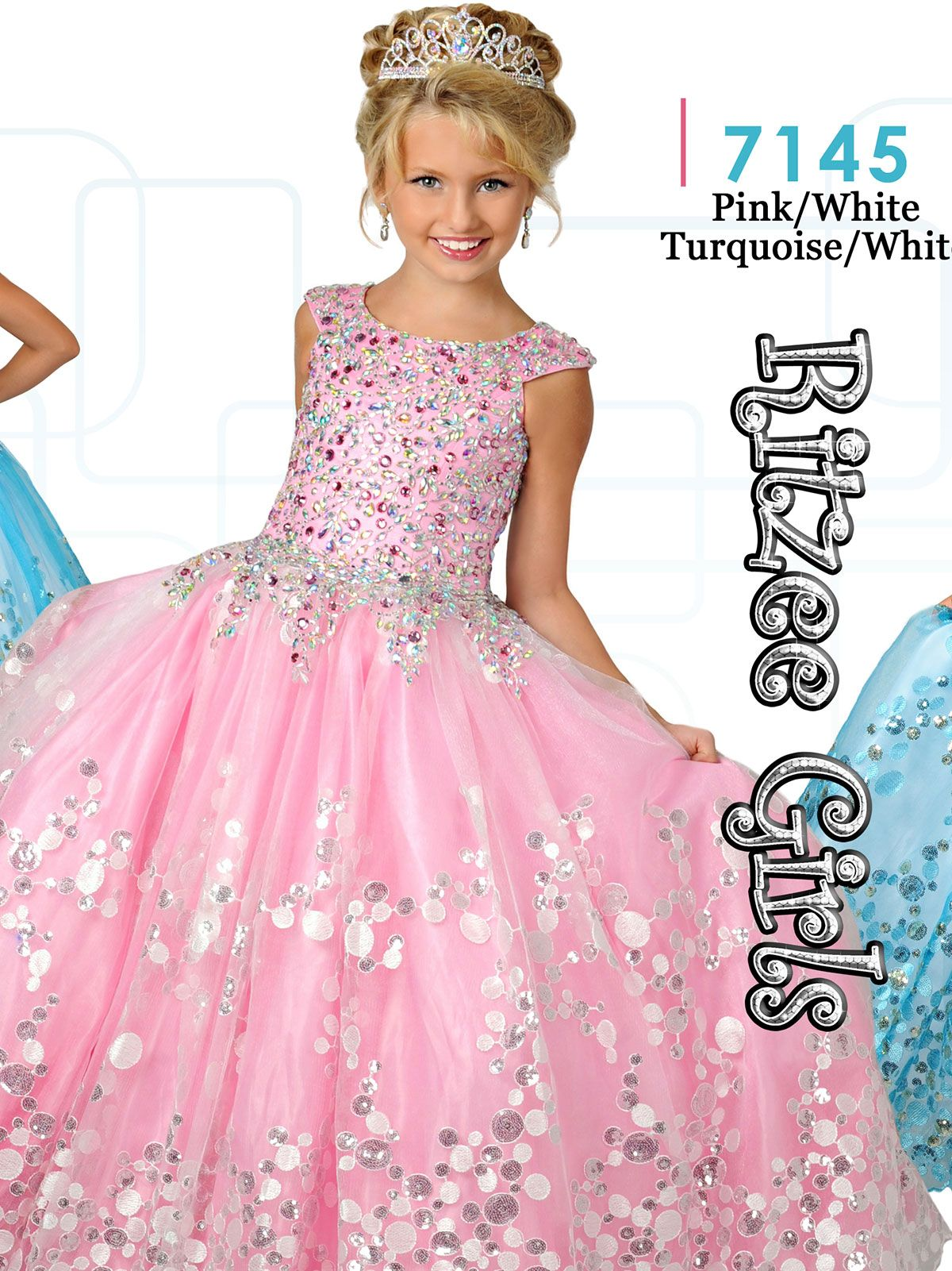 Ritzee Girls 7145 Cap Sleeves Ball Gown Dress|PageantDesigns.com ...