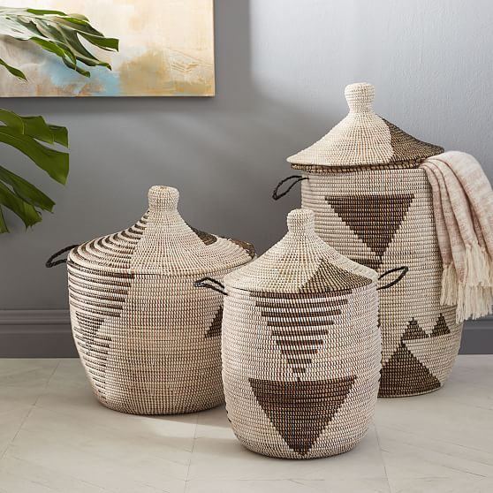 Graphic Woven Baskets - Black/White
