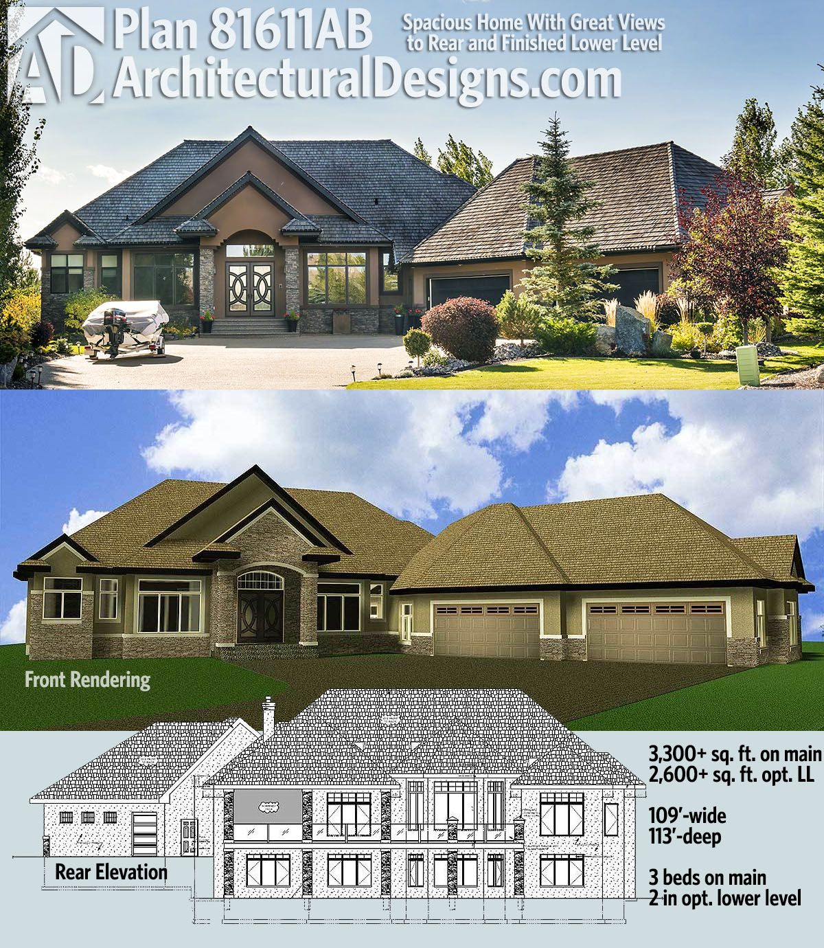 Plan 81611AB: Spacious Home With Great Views to Rear and Finished ...