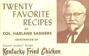 Recipes from the recipe booklet: Colonel Sanders 20 Favorite Recipes, put out by Colonel Sanders and KFC in 1964 - Recipelink.com