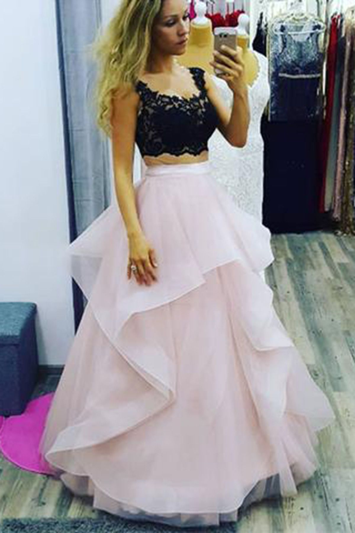 Cute black lace pink chiffon two pieces prom dress gowns