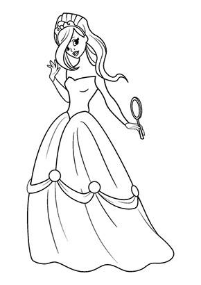 Ausmalbild Prinzessin Mit Spiegel Ausmalbilder Prinzessin Malvorlage Prinzessin Ausmalen