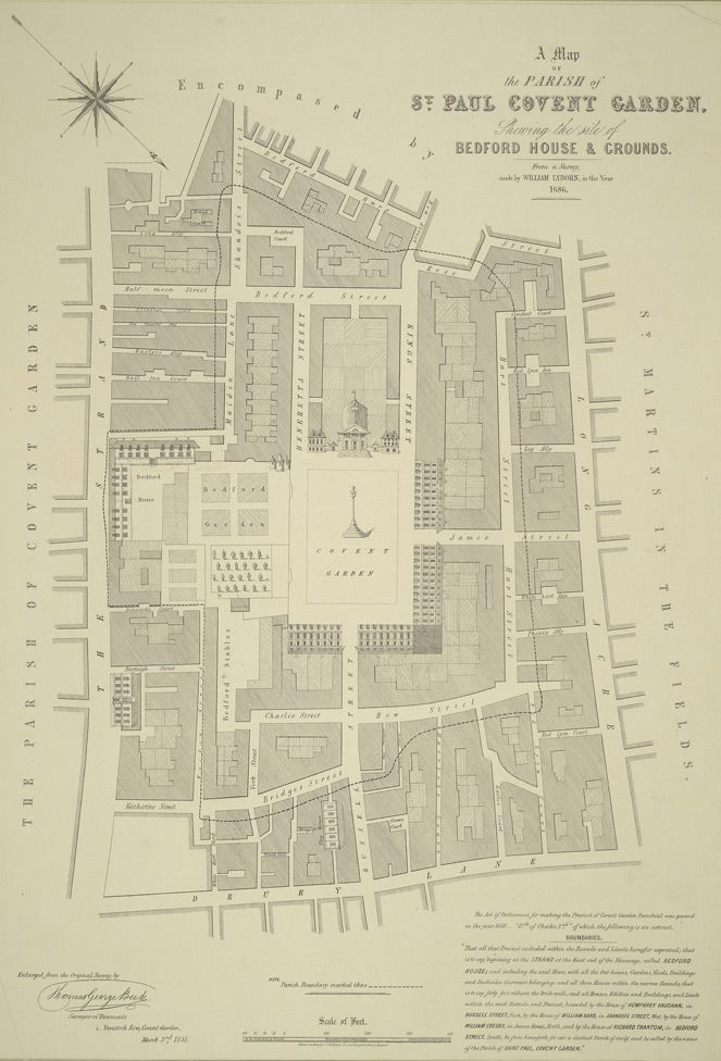 a map of the parish of st paul covent garden shewing the site of bedford