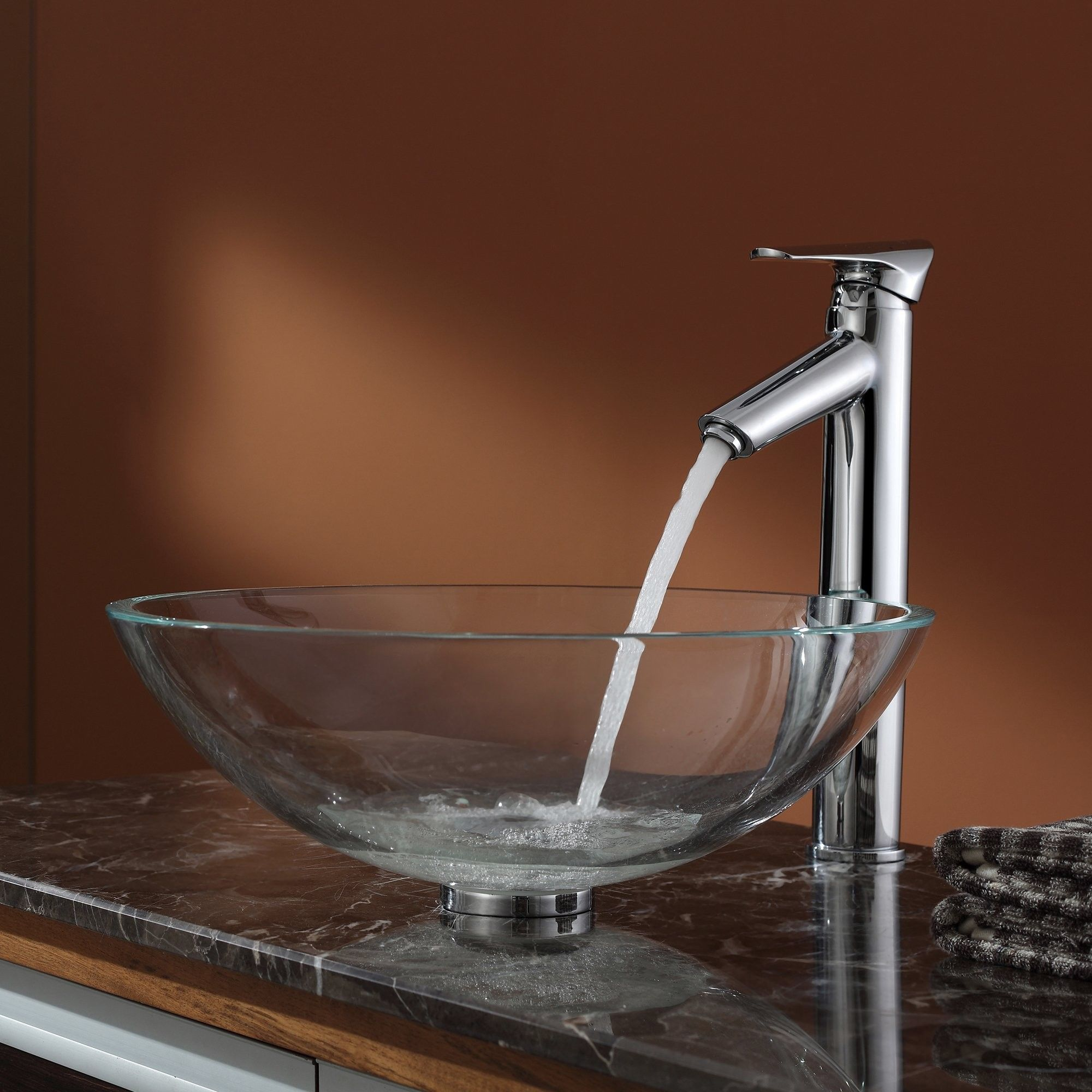Crystal Clear Glass Vessel Sink and Decus Faucet Wayfair Sinks