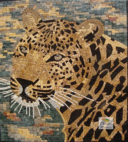AN021 Marble Mosaic Wild Tiger Tile