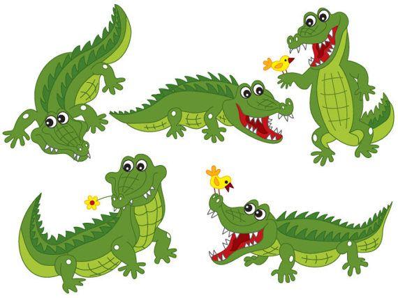 Crocodile Clipart Digital Vector Crocodile Africa Safari Etsy In 2021 Crocodile Illustration Alligators Art Clip Art