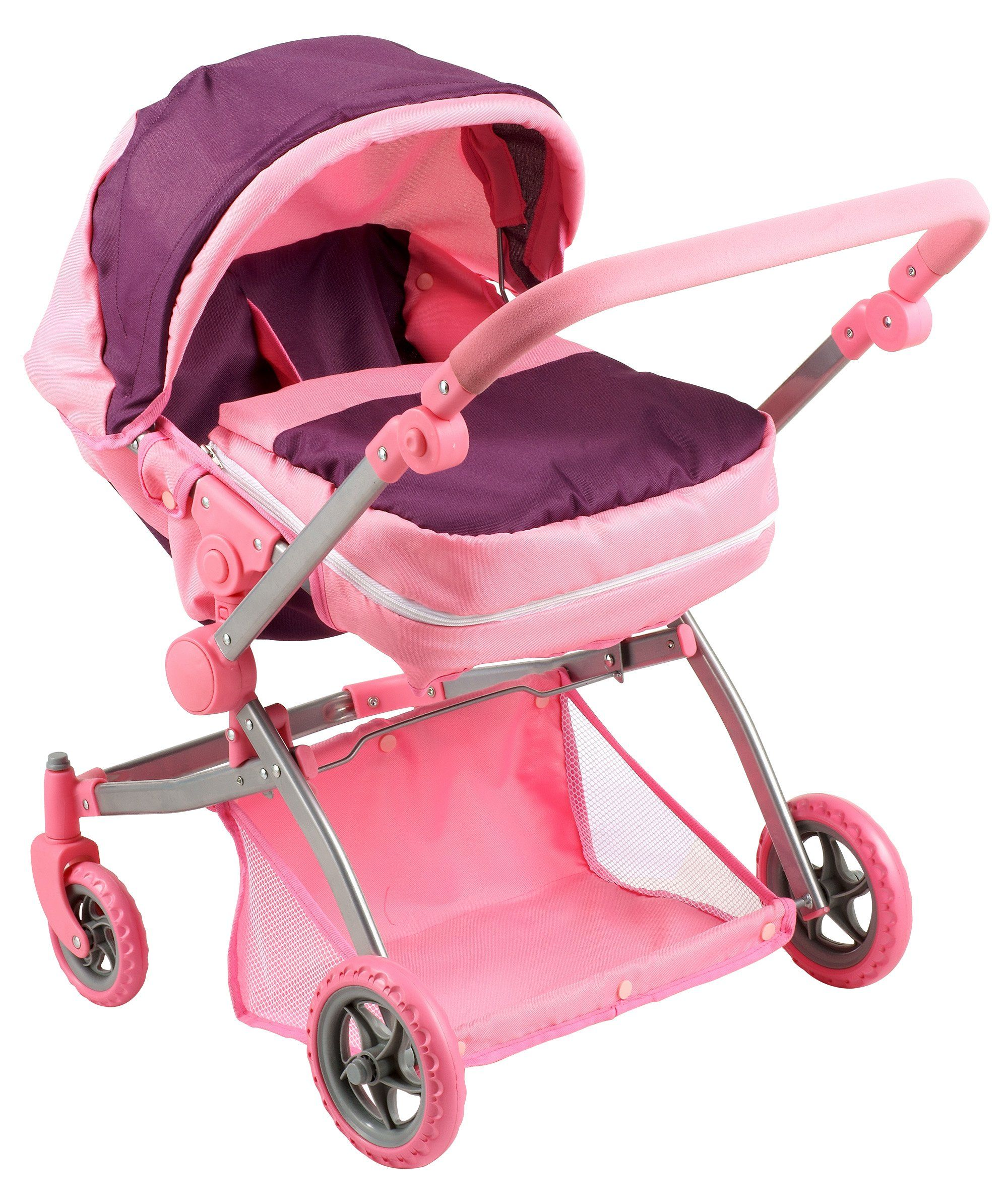 Amazon Com Deluxe Twin Doll Pram Stroller Purple Pink Toys