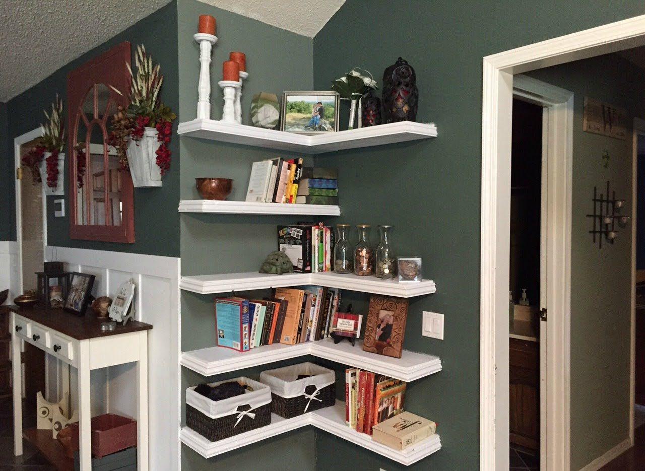 diy floating corner shelves | floating corner shelves, corner shelves, shelves