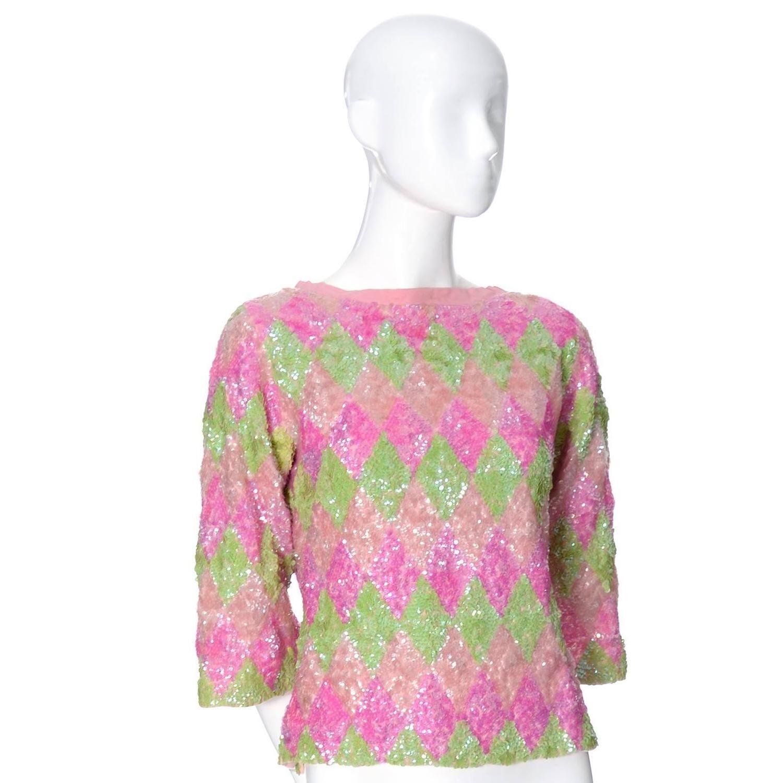 1960s Valentina Vintage Top Sweater Pink Green Pastel Sequins Silk ...