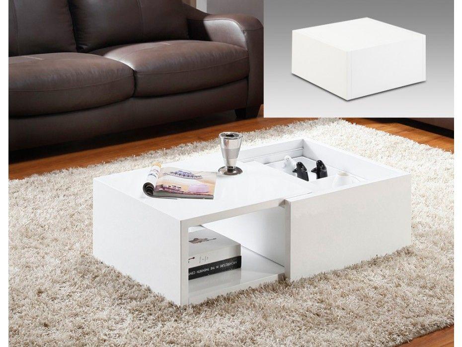 Table Basse Astucia Extensible Avec Coffre Et Niche Mdf Laque Blanc Table Basse Table Basse Pas Cher Table