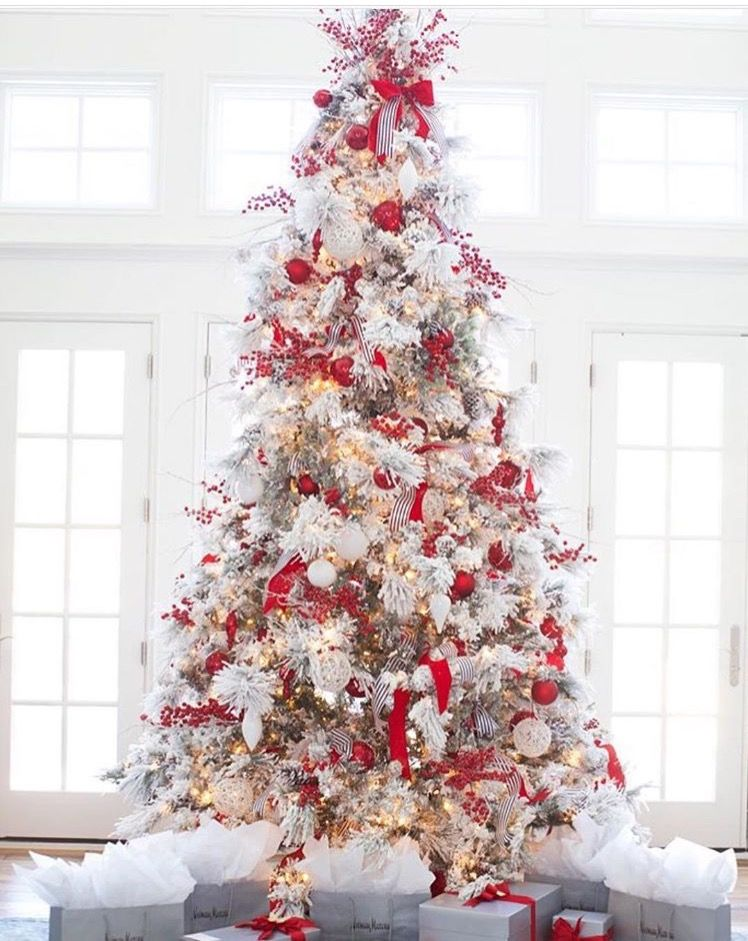 ... flocked Christmas tree decoration ideas for you below. Christmas 2016,  Christmas Holidays, Christmas Pajamas, Merry Christmas, Christmas Gifts,  White - Pin By Jackie On Christmas In Red & White Pinterest Christmas