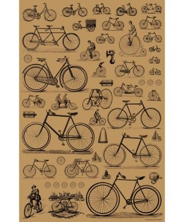 What's your favorite style of bicycle? From the standard safety bike to the penny farthing to the tandem, this hand-screened decorative sheet by Charles Lahti features charming prints of bikes through the ages. Perfect as a poster, unusual gift wrap or collage. 25 x 38""