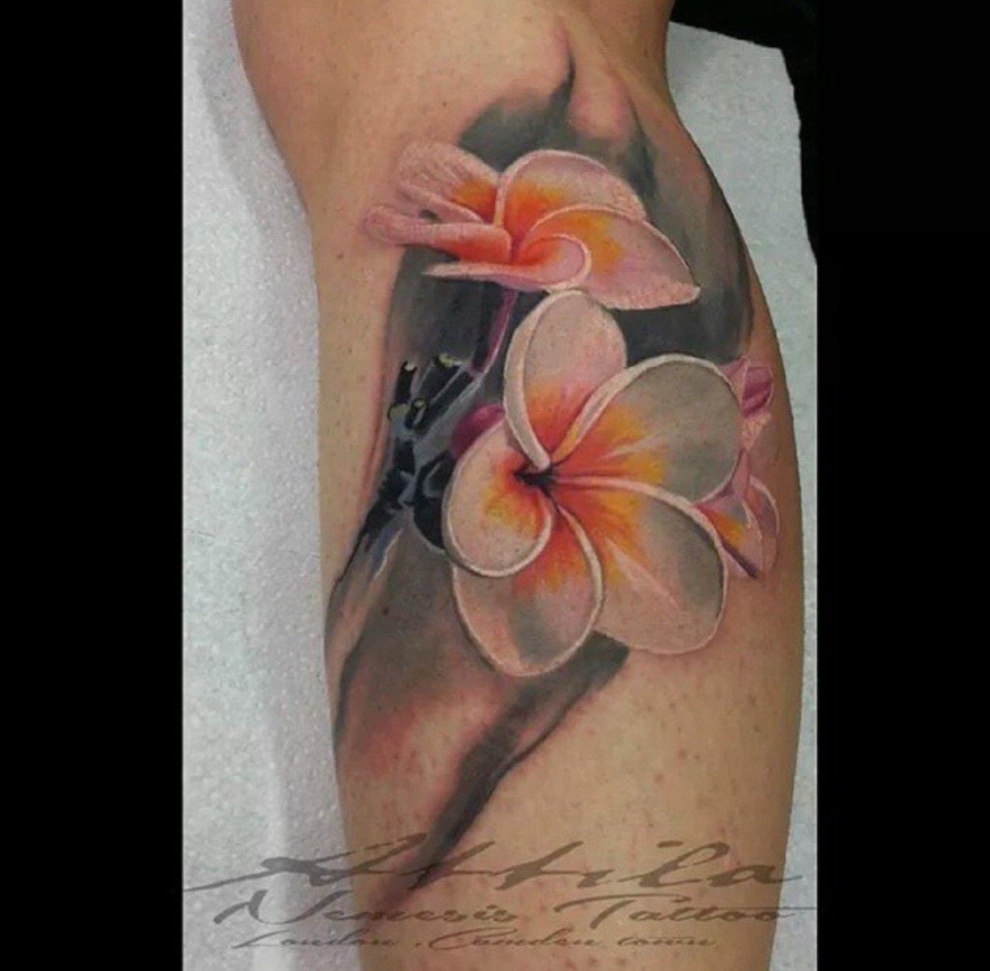 Frangipani Plumeria Flower Tattoo On Calf Plumeria Flower Tattoos Frangipani Tattoo Plumeria Tattoo