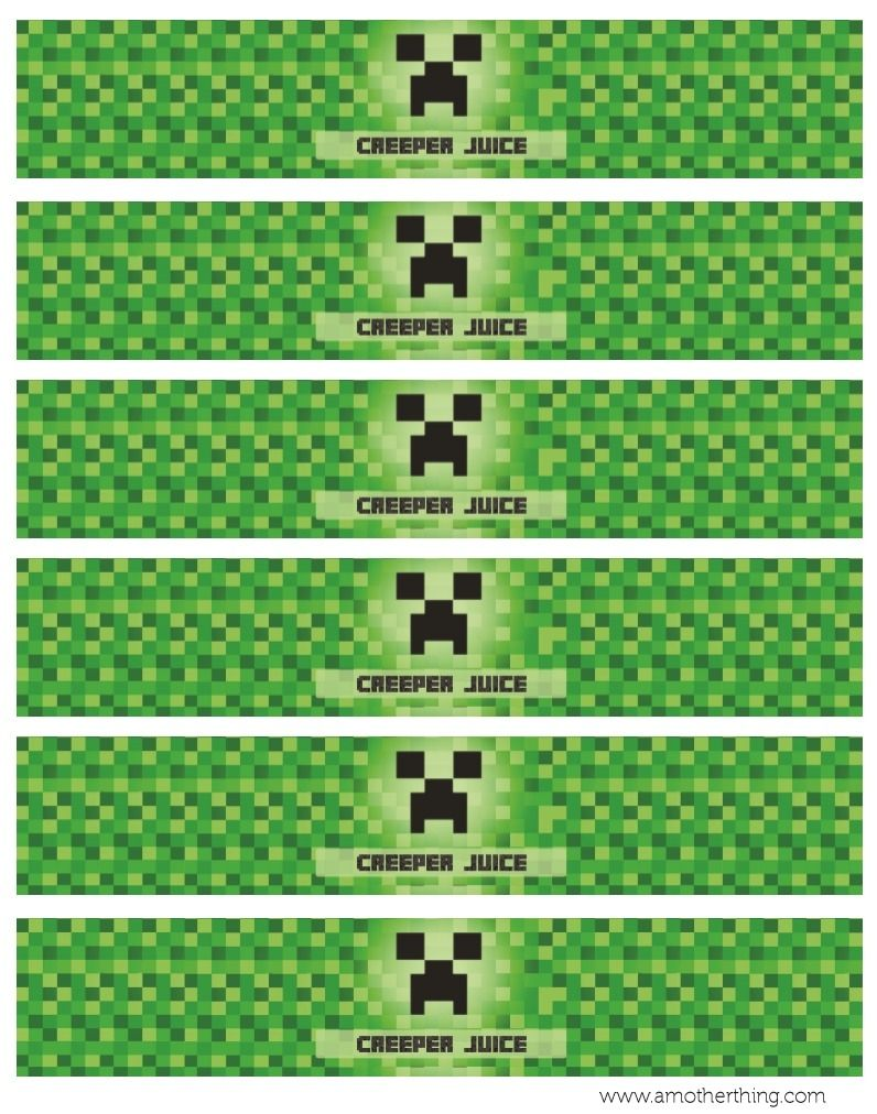 This is an image of Nerdy Free Printable Chevron Banner Minecraft