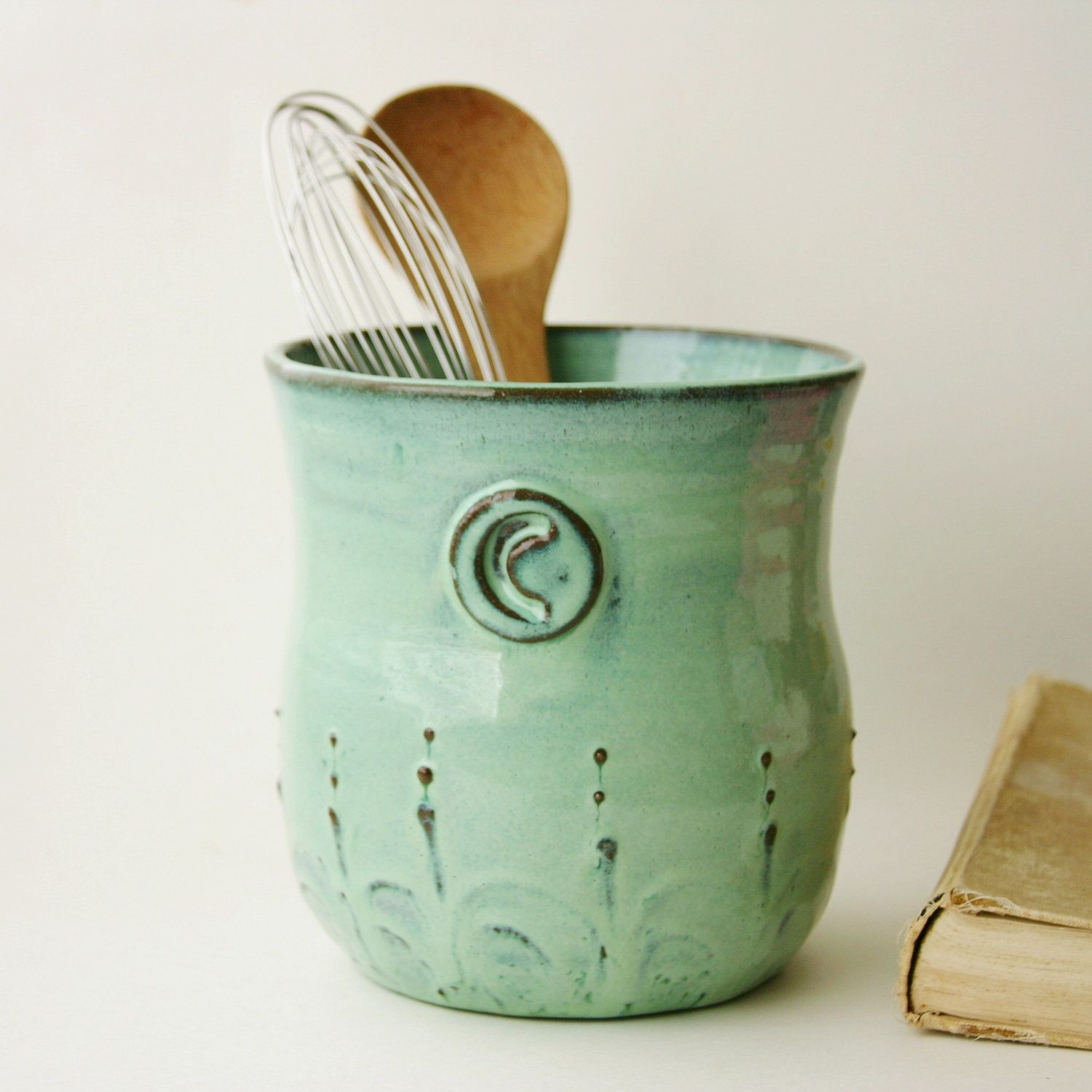 Monogram Kitchen Utensil Holder Aqua Mist Large Size French Country Home Decor Made To