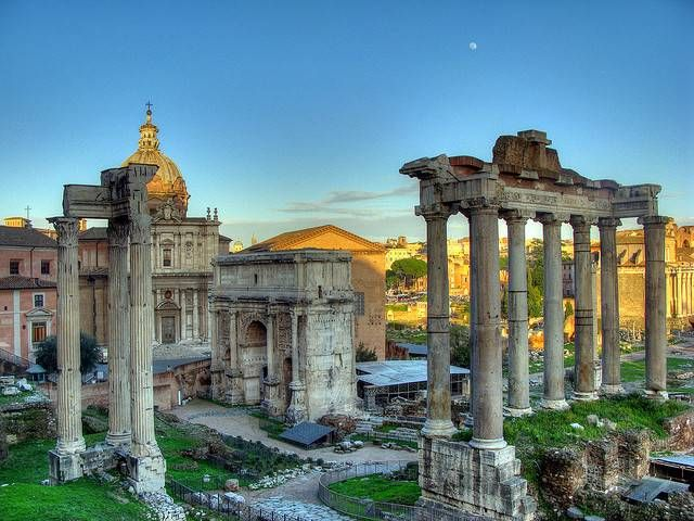 The Roman Forum is a rectangular forum (plaza) surrounded by the ruins of several important ancient government buildings at the center of the city of Rome.