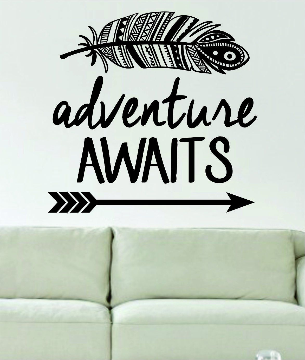 feather arrow pattern with various mid century style arrows wall adventure awaits feather and arrow design decal sticker wall vinyl art words decor