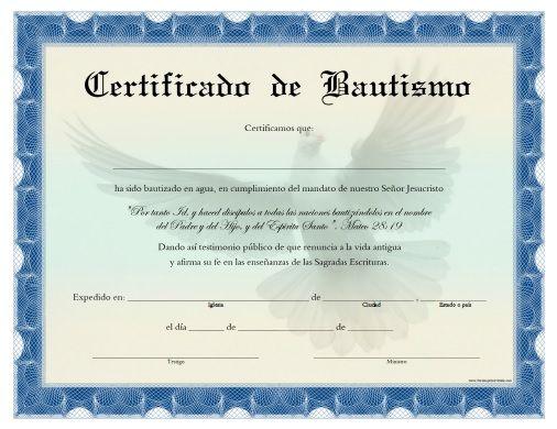 Certificado De Bautismo Para Imprimir Gratis Certificate Templates Certificate Format School Certificates