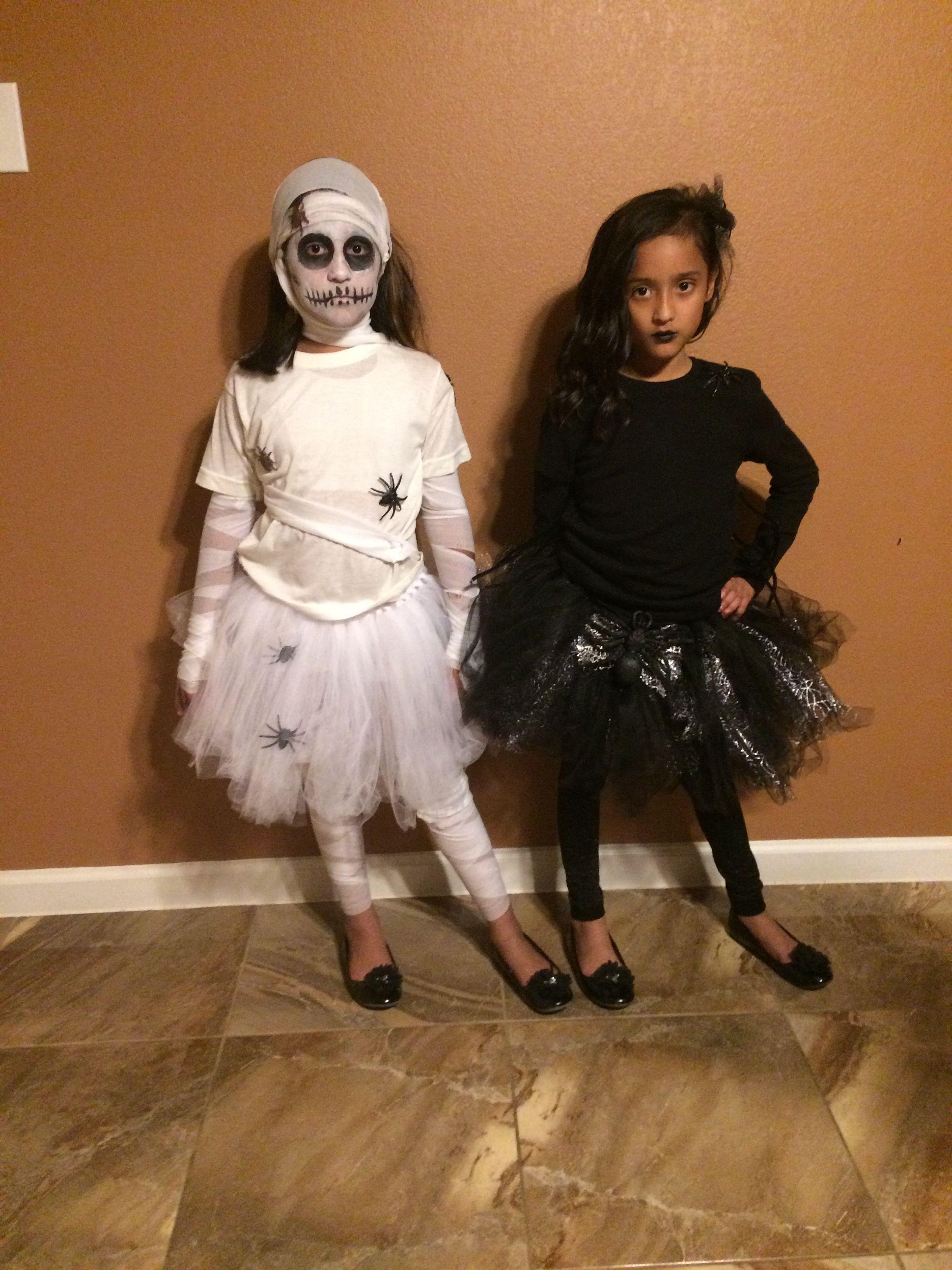 My girls Kasandra & Kayla in our DIY mummy & spider