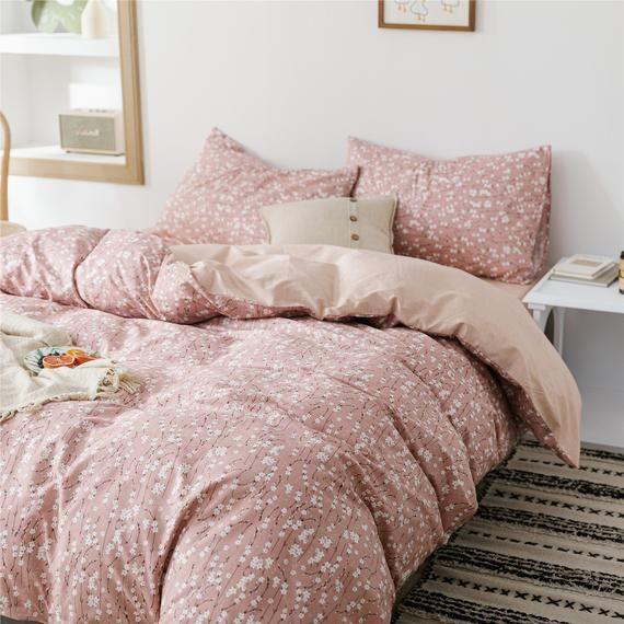 Cotton Duvet Cover Set White Floral Bedding Set Bedding Set Twin Queen King Bed Set Bedding Set For Bed Comforter Sets Twin Bed Sets Duvet Cover Sets