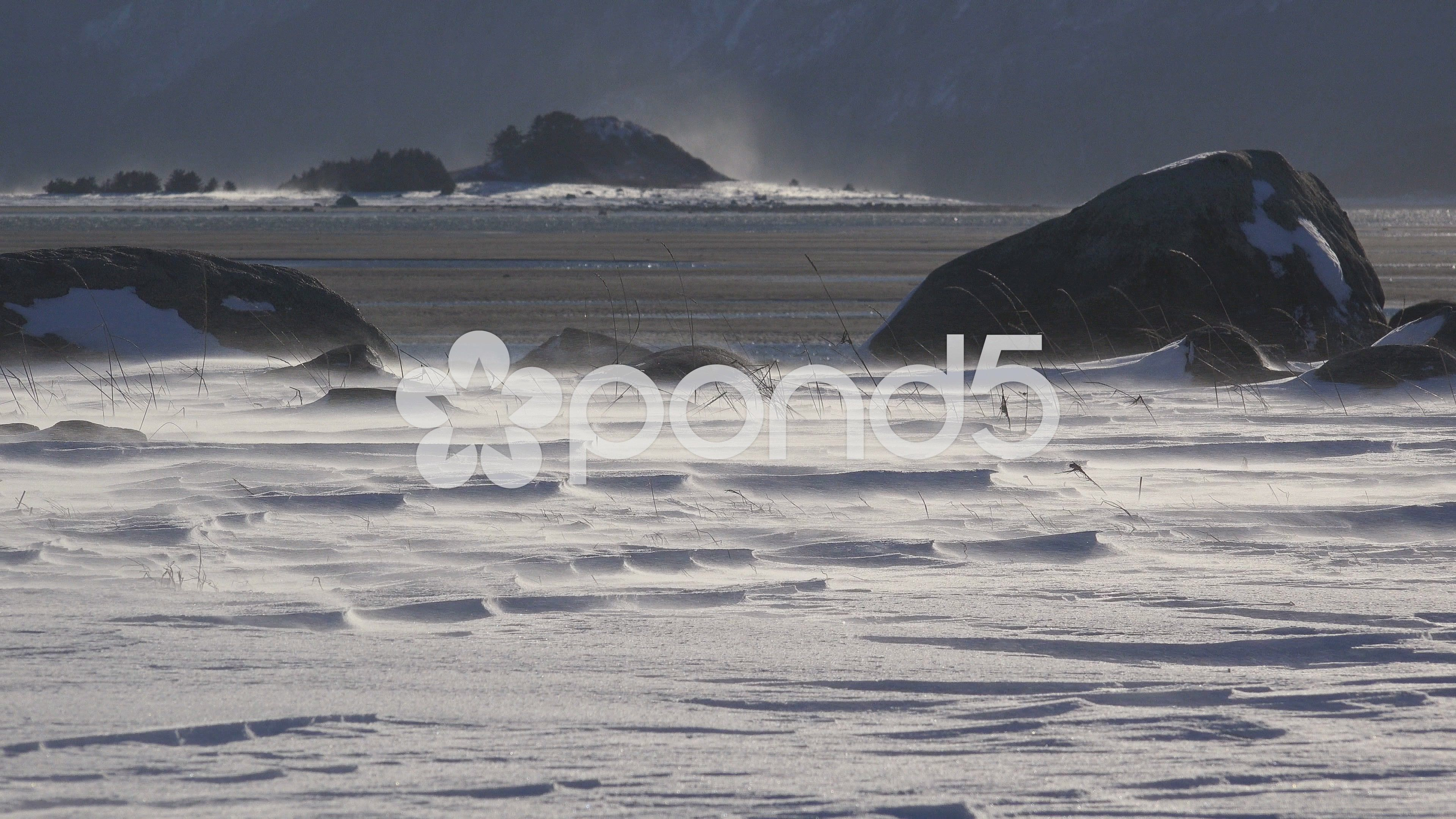 Driven By Winter Wind >> Wind Driven Snow On Rocks And Tidal Flats Pyramid Island Distant 4k