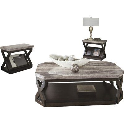 Latitude Run Kelton 3 Piece Coffee Table Set 3 Piece Coffee Table Set Furniture Table