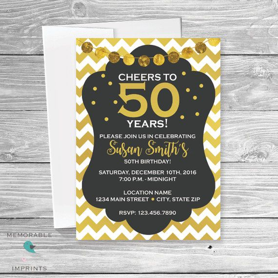 Cheers to 50 years 50th birthday invitation 50th birthday gold cheers to 50 years 50th birthday invitation 50th birthday gold black and white 50th gold black and white birthday invitation printable invitations by stopboris Images