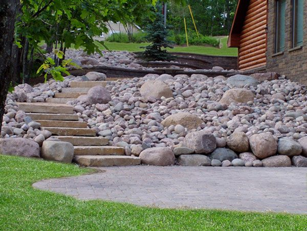 Paver Walkway With Natural Stone Steps And Boulder Retaining Wall. Stone  LandscapingBackyard LandscapingLandscaping IdeasBoulder ...