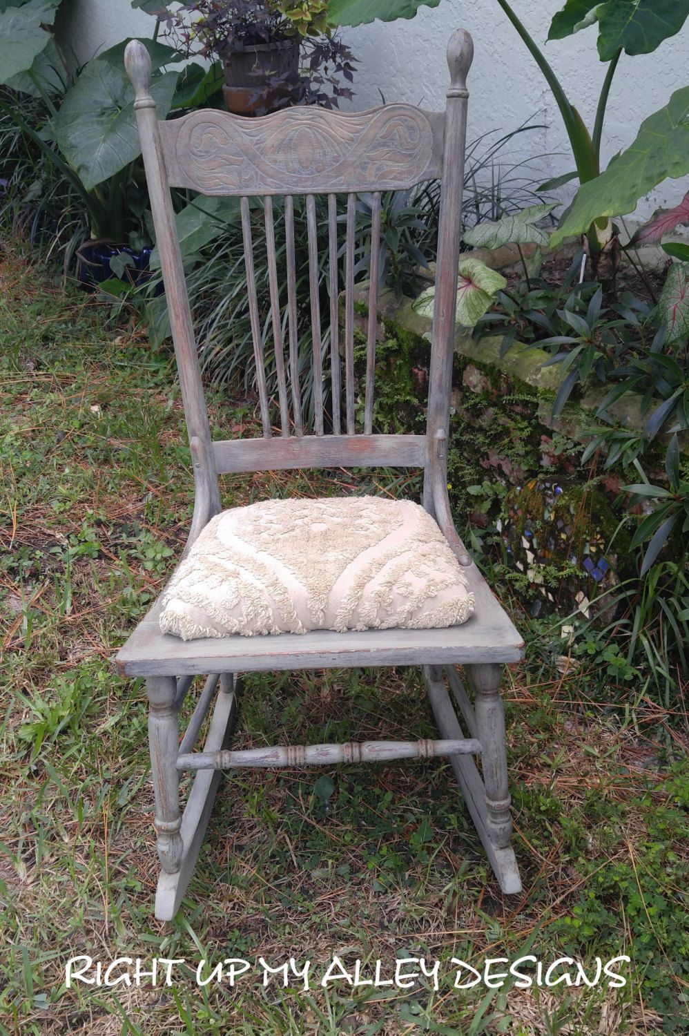 Chair shabby chic painted rocking chairs - Old Painted Rocking Chair Annie Sloan Painted Chair Chateau Grey Chair Oak Rocking Chair Vintage Chair Green Rocking Chair Shabby Chic Chair