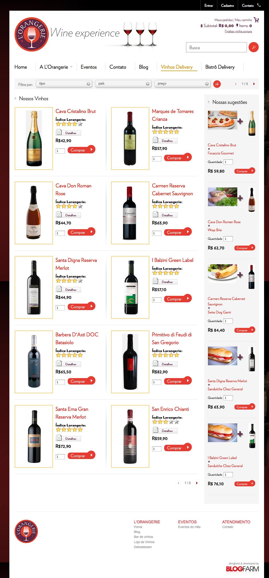 Página de Vinhos