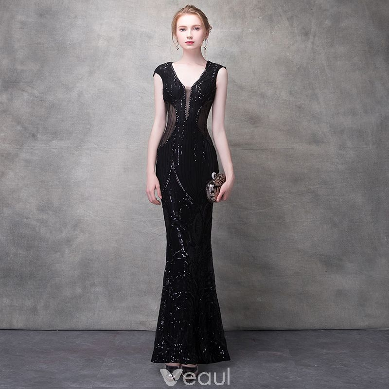 0754d06d8a1b5 Sexy Black Evening Dresses 2017 Trumpet / Mermaid Lace Flower Crystal  Sequins Pierced V-Neck