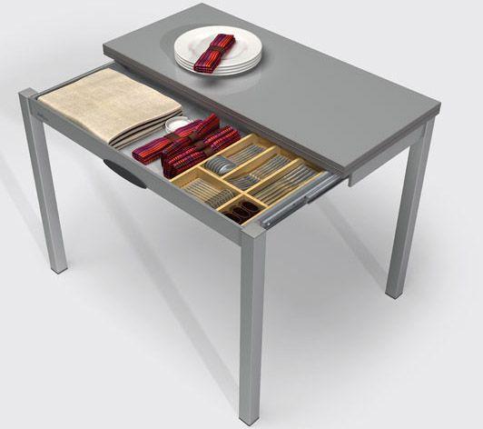 mesa de cocina tipo libro extensible con patas desplazables y parte ...
